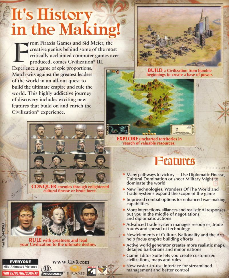 Sid Meier's Civilization III Windows Back Cover