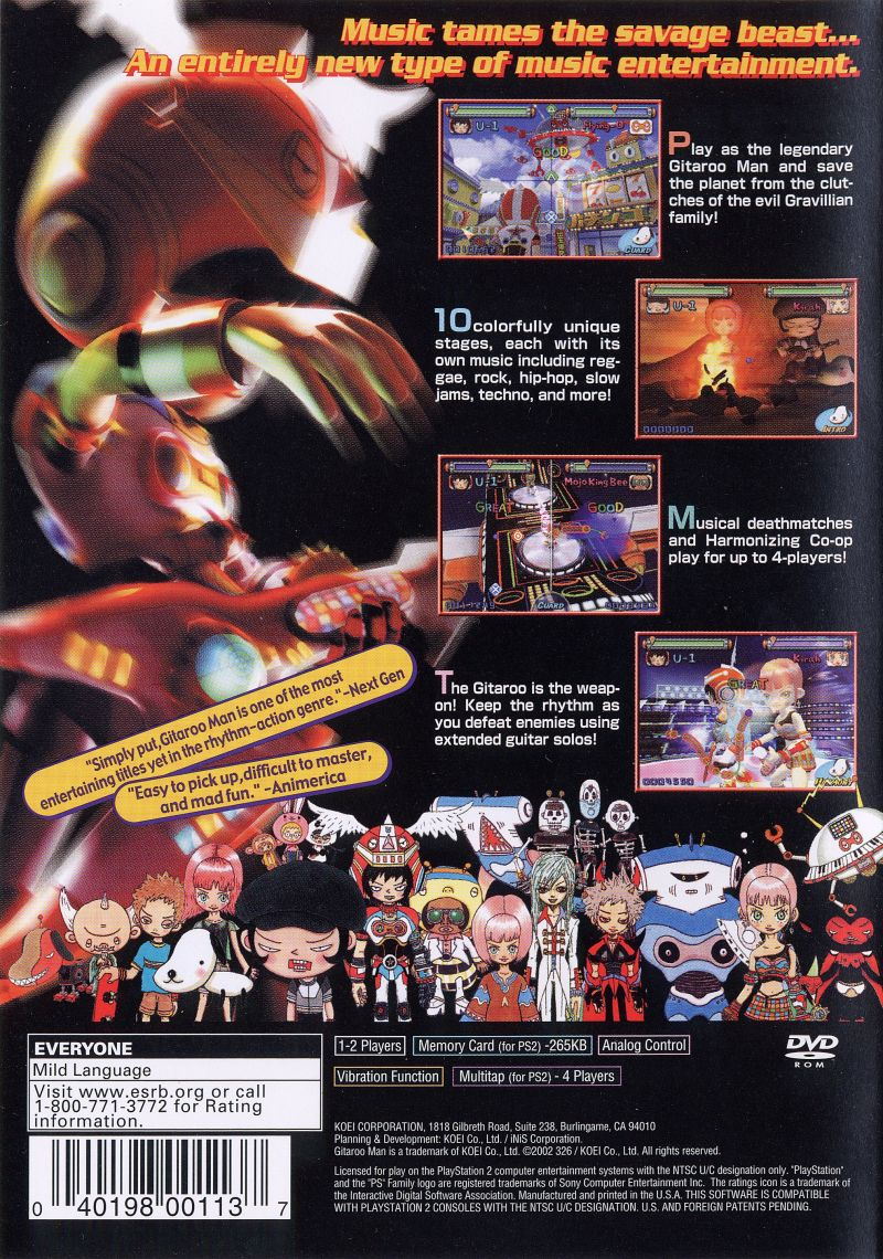 Gitaroo Man PlayStation 2 Back Cover