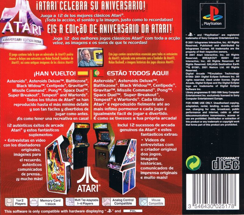 Atari: Anniversary Edition PlayStation Back Cover