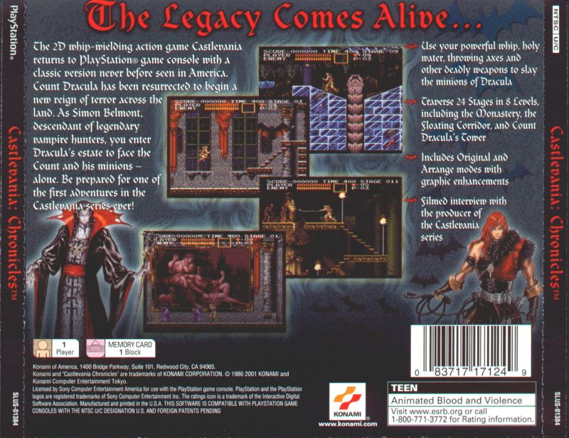 Castlevania Chronicles PlayStation Back Cover