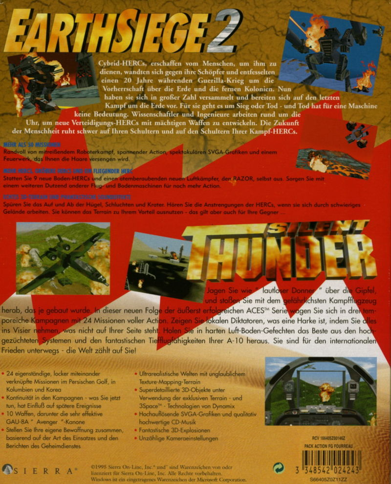 Action Pack: Earthsiege 2 + Silent Thunder Windows Back Cover