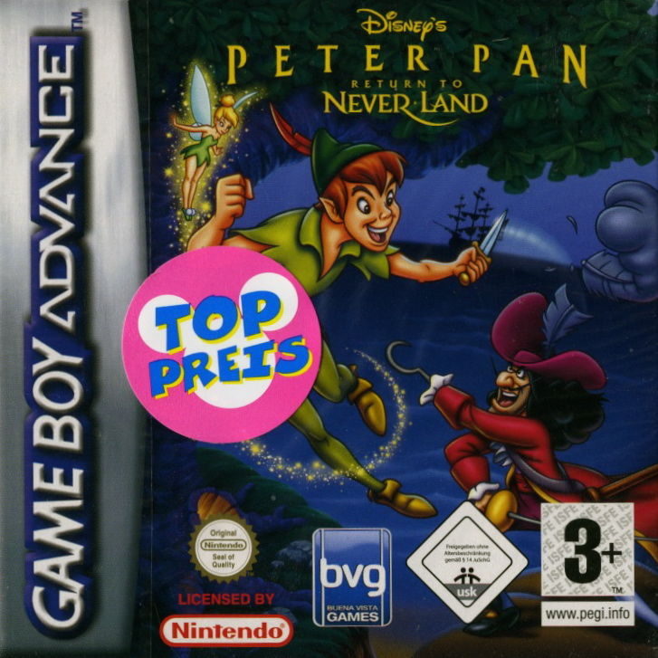 Disney's Peter Pan: Return to Never Land Game Boy Advance Front Cover