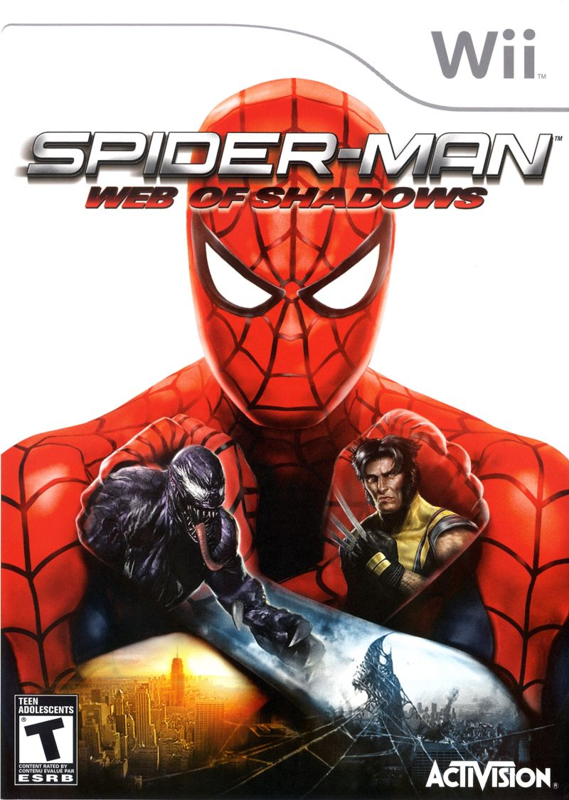 spider-man: web of shadows (2008) wii box cover art - mobygames