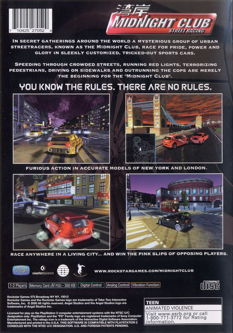 Midnight Club: Street Racing PlayStation 2 Back Cover