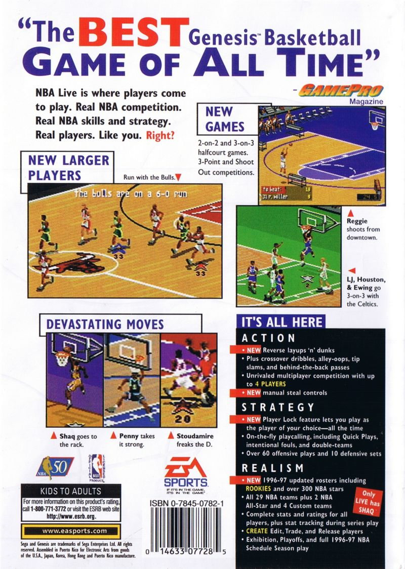 NBA Live 97 Genesis Back Cover