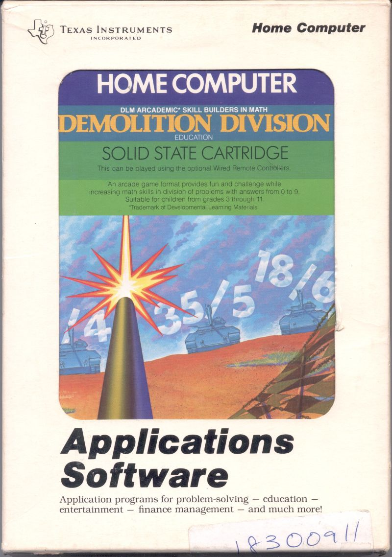 Demolition Division TI-99/4A Front Cover