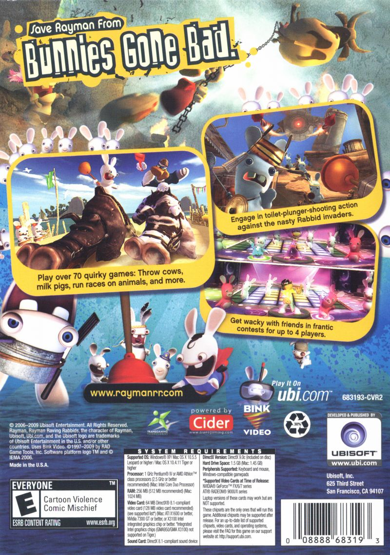 Rayman Raving Rabbids Macintosh Back Cover