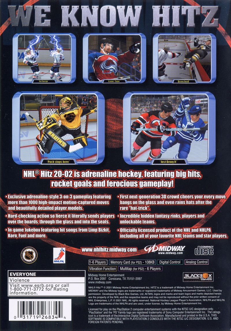 NHL Hitz 20-02 PlayStation 2 Back Cover