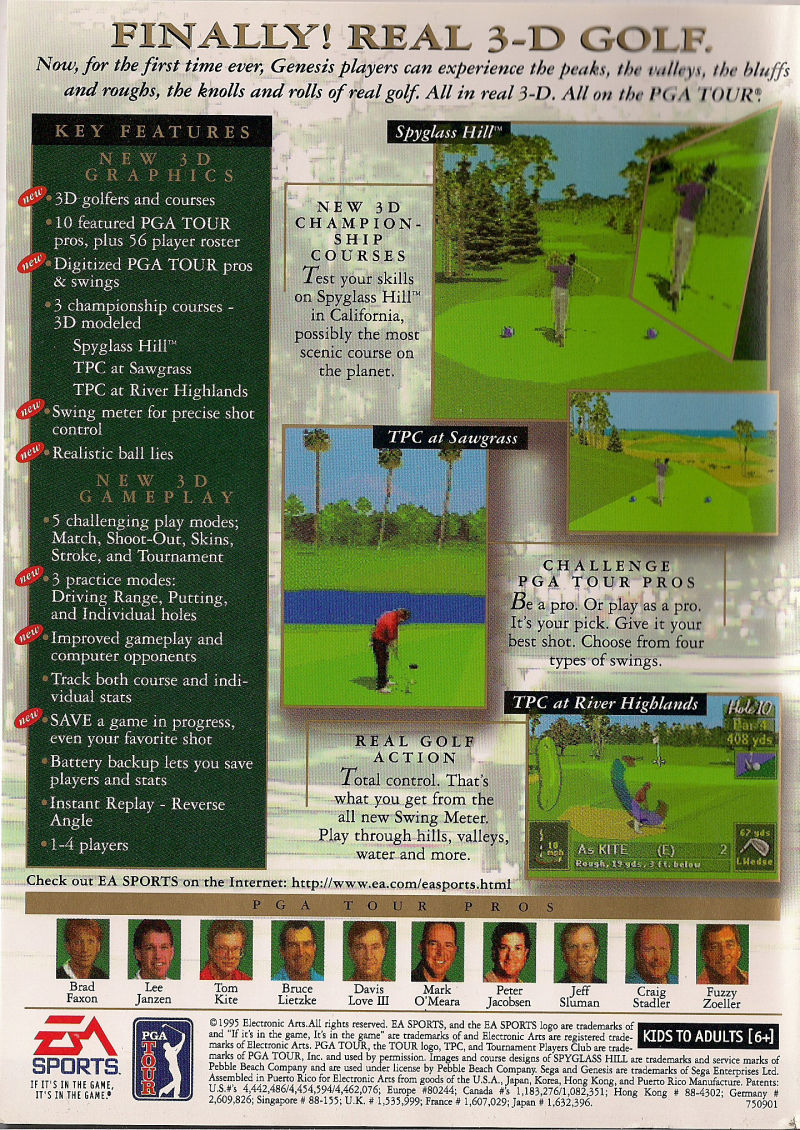 PGA Tour 96 Genesis Back Cover