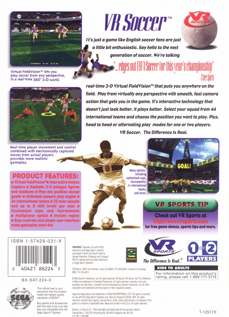 VR Soccer '96 SEGA Saturn Back Cover