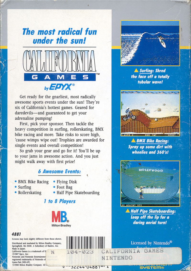 California Games NES Back Cover