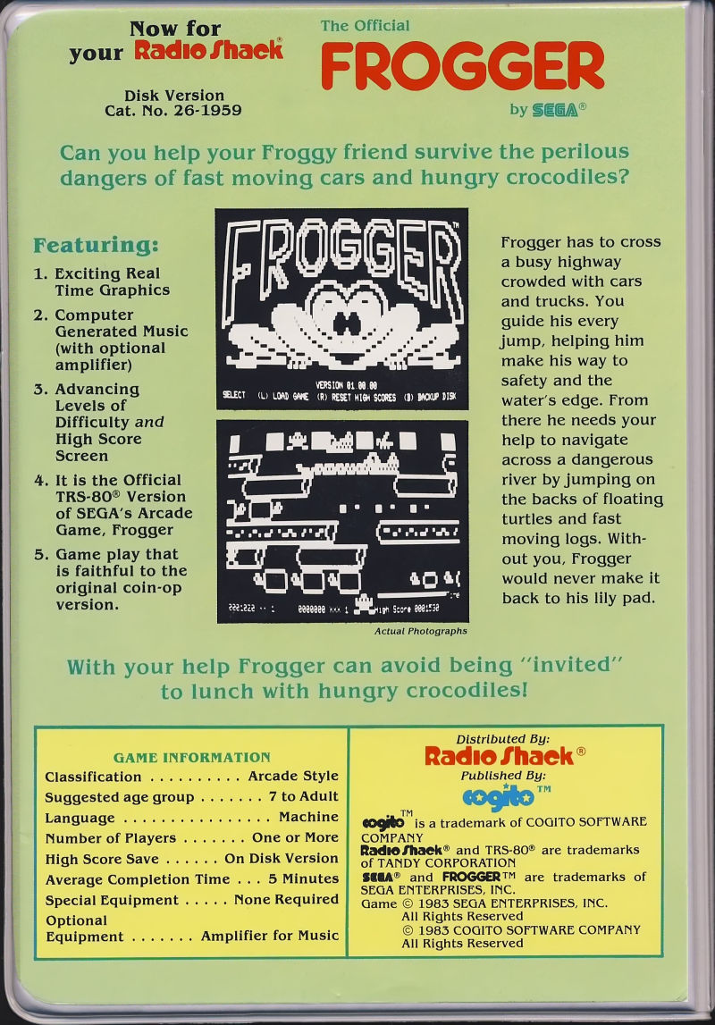 Frogger TRS-80 Back Cover