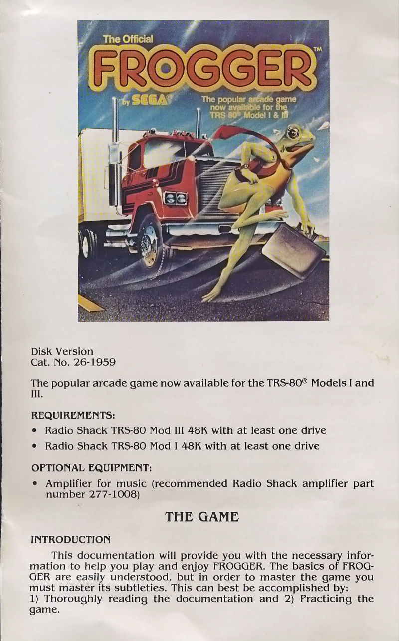 Frogger TRS-80 Inside Cover