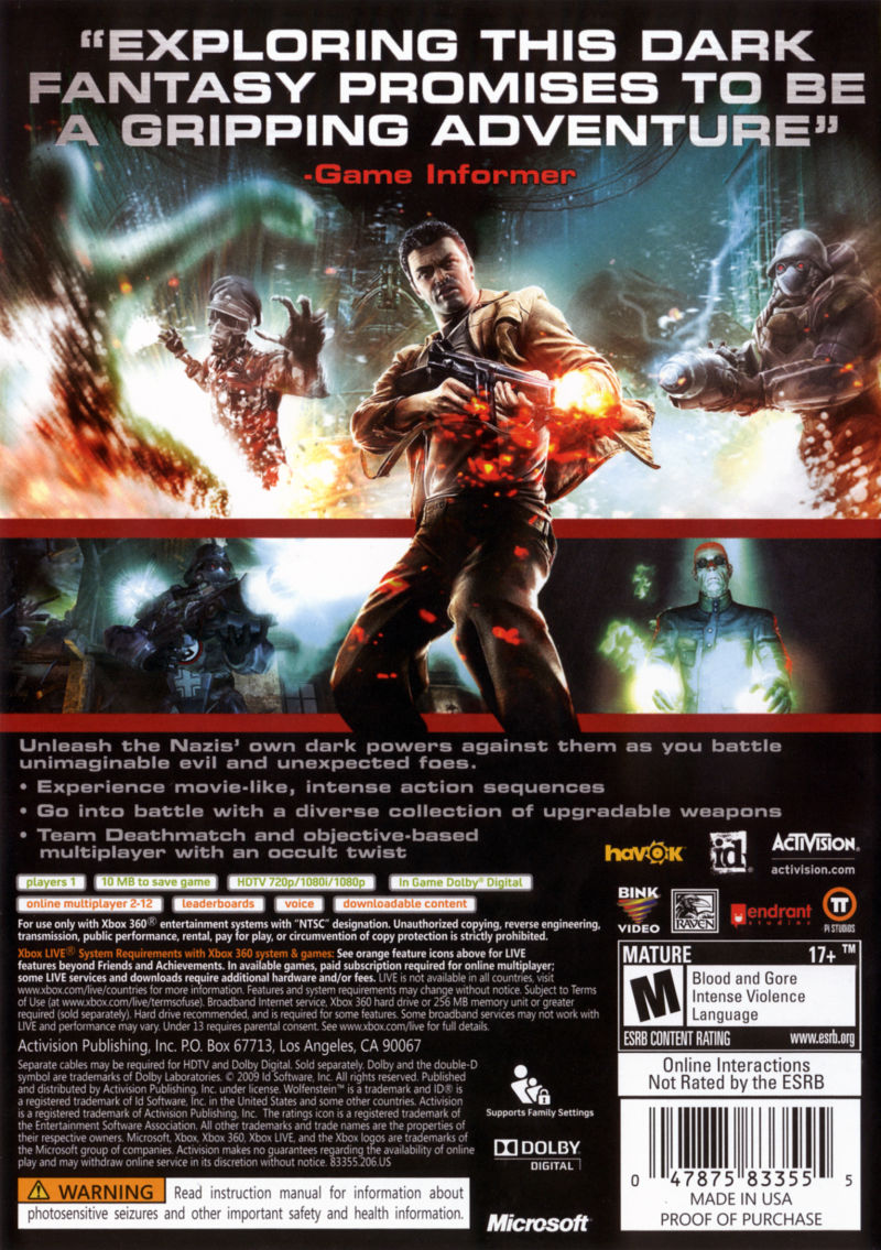Wolfenstein Xbox 360 Back Cover