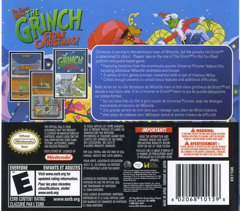 dr seuss how the grinch stole christmas nintendo ds back cover - How The Grinch Stole Christmas Video