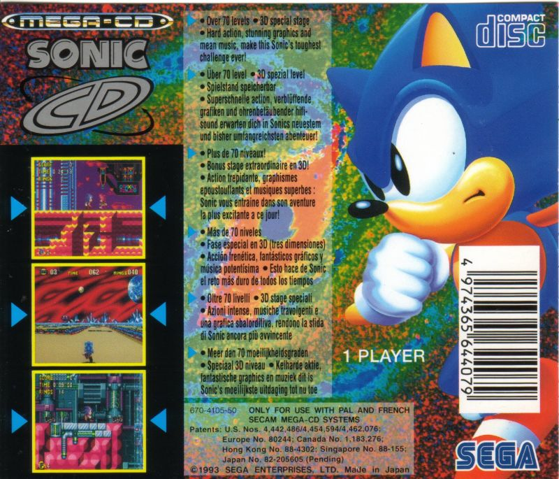 Sonic CD SEGA CD Back Cover