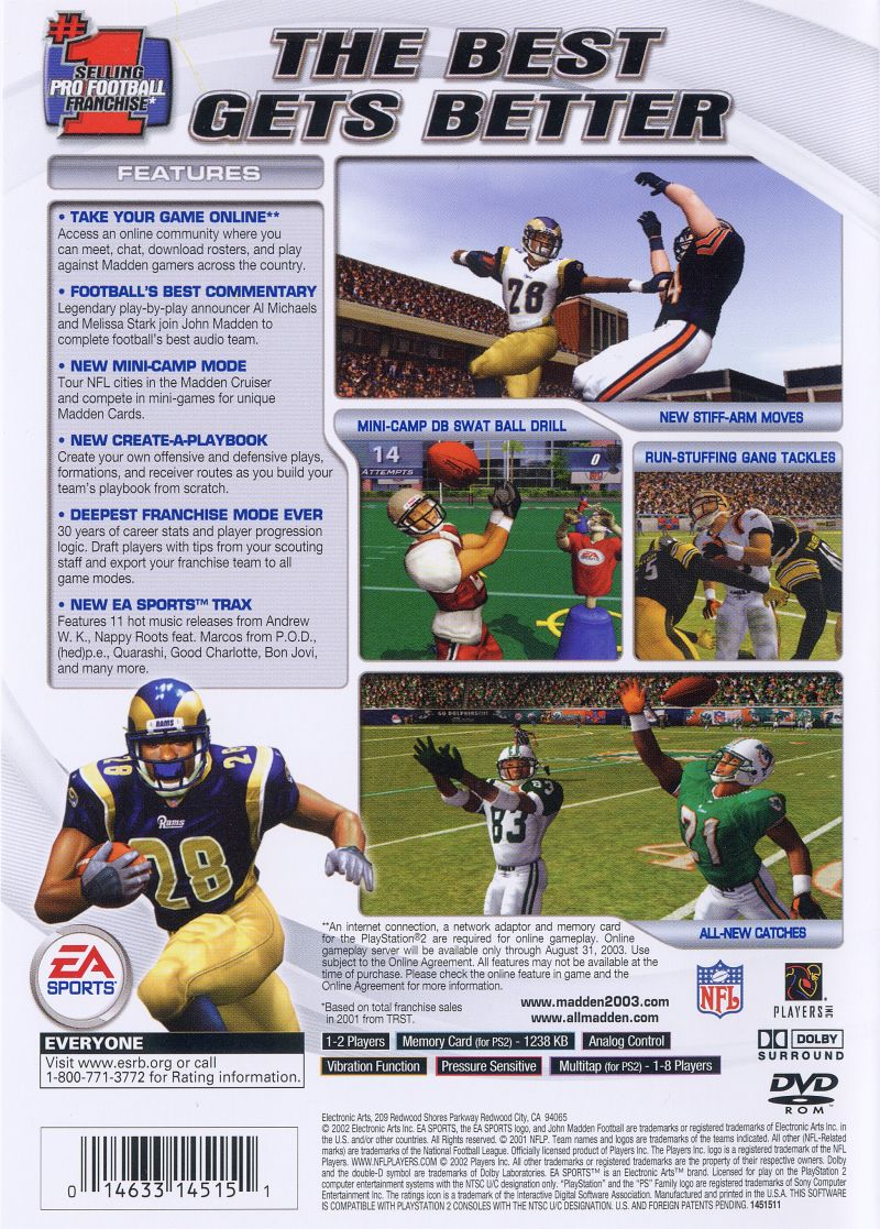 Madden NFL 2003 PlayStation 2 Back Cover