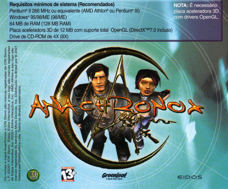 Anachronox Windows Other Jewel Case - Back