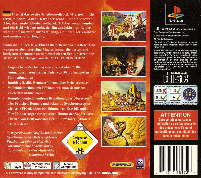 Discworld II: Mortality Bytes! PlayStation Back Cover
