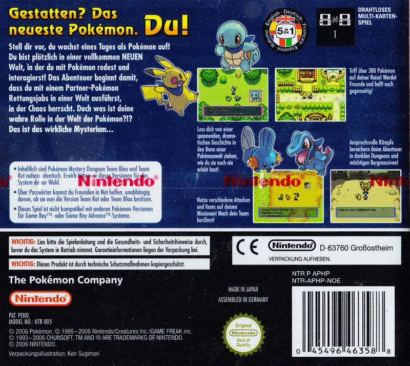 Pokémon Mystery Dungeon: Blue Rescue Team Nintendo DS Back Cover