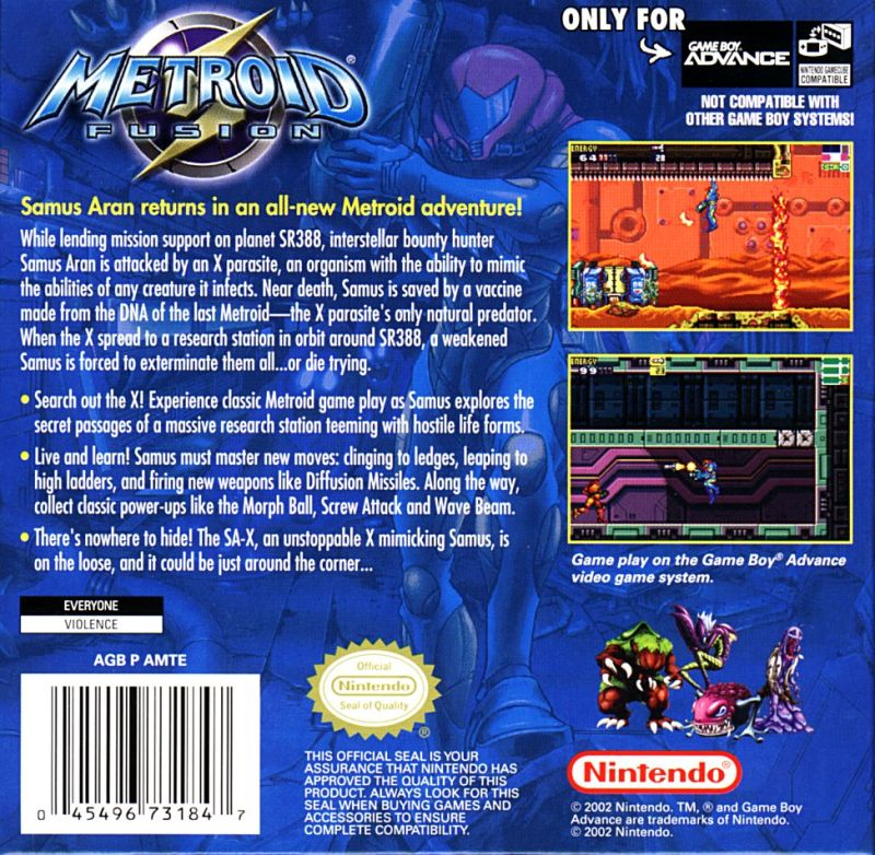 Metroid Fusion Game Boy Advance Back Cover