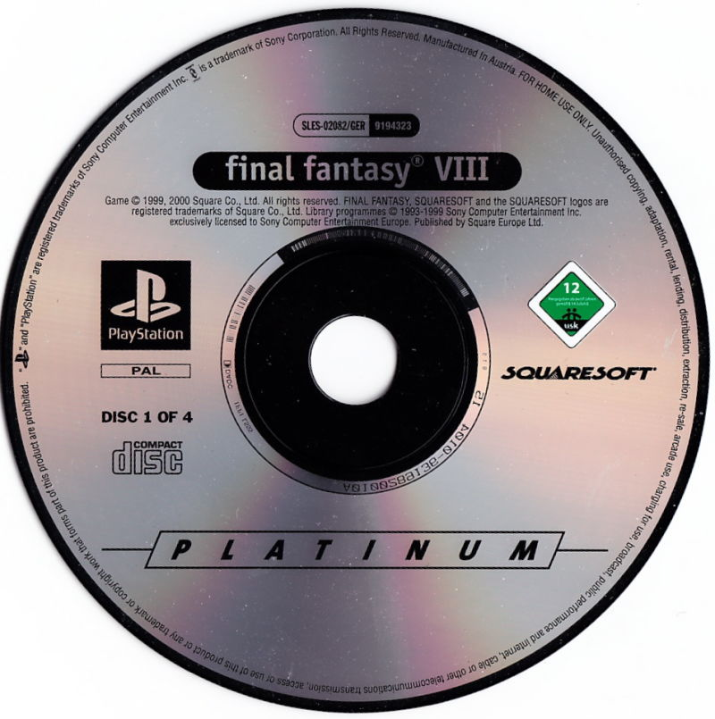 Final Fantasy VIII PlayStation Media Disc 1/4