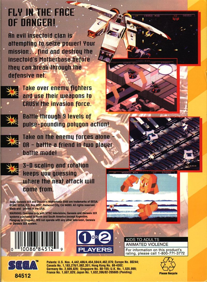 Zaxxon's Motherbase 2000 SEGA 32X Back Cover
