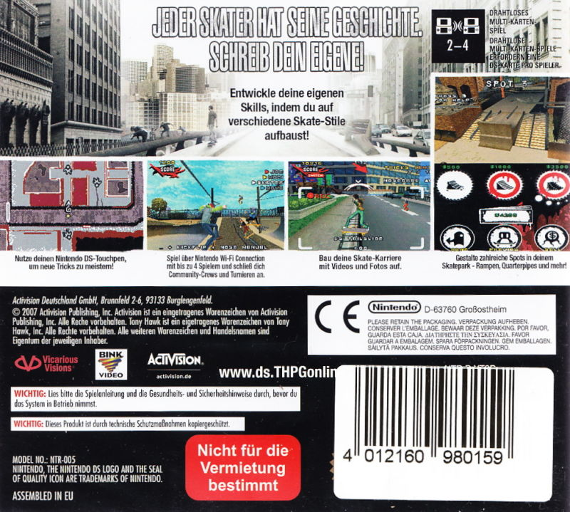 Tony Hawk\'s Proving Ground (2007) Nintendo DS box cover art - MobyGames