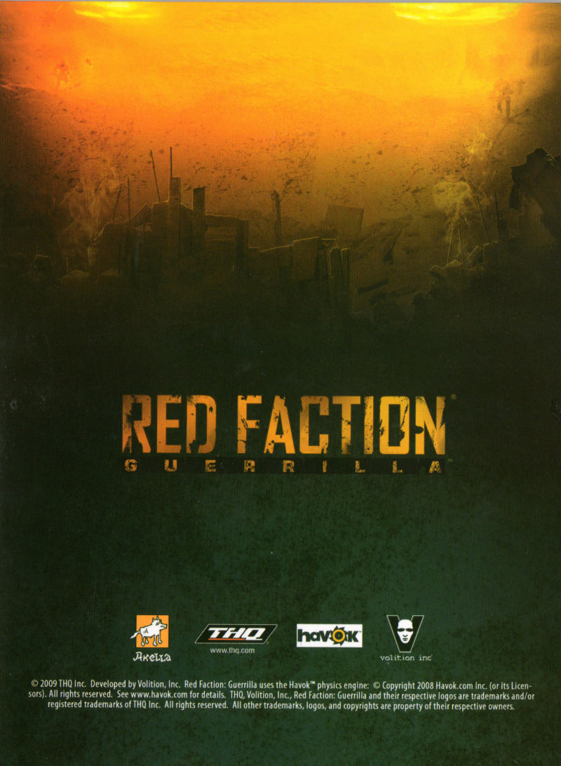 Red Faction: Guerrilla Windows Other Digipak - Back