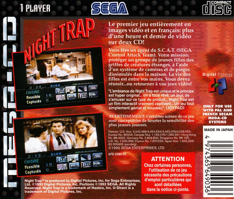 Night Trap SEGA CD Back Cover