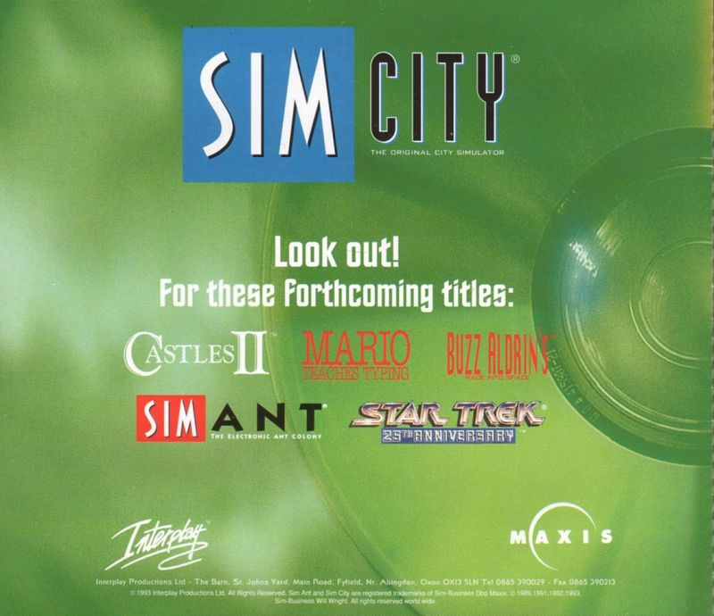 SimCity: Enhanced CD-ROM DOS Other Jewel Case - Back