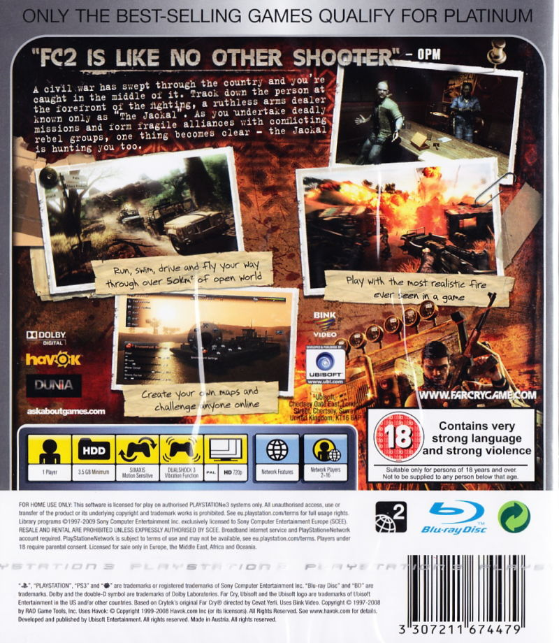 Far Cry 2 PlayStation 3 Back Cover