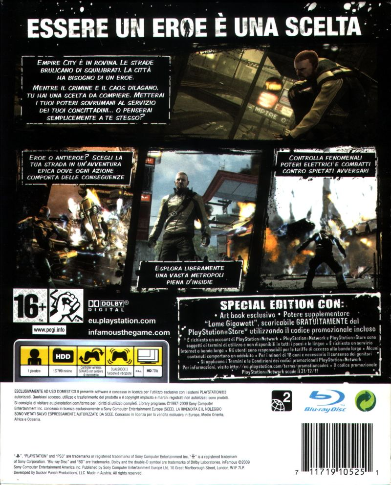 inFAMOUS (Special Edition) PlayStation 3 Back Cover