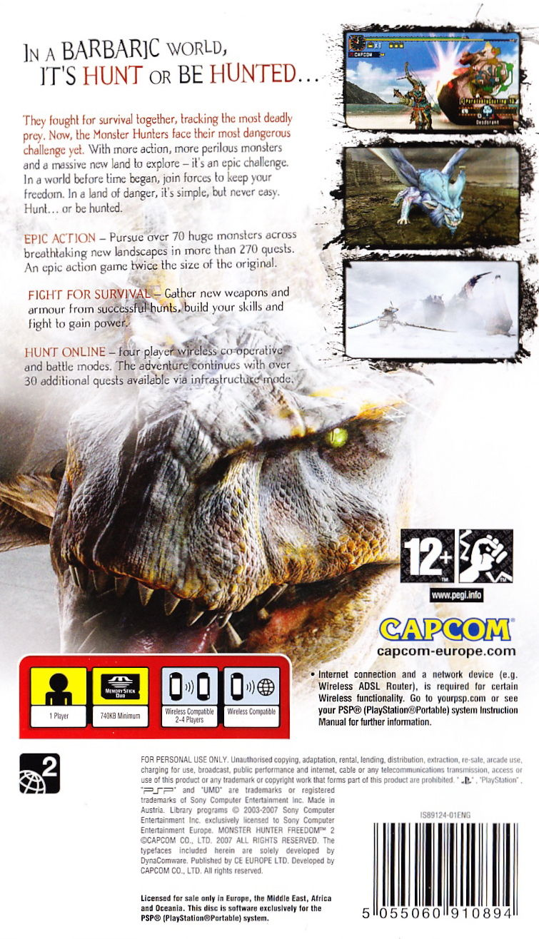 Monster Hunter Freedom 2 PSP Back Cover