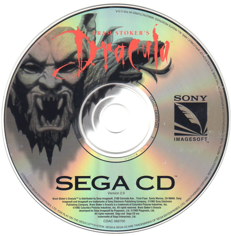 Mary Shelley's Frankenstein / Bram Stoker's Dracula SEGA CD Media Bram Stoker's Dracula game disc (version 2.0)