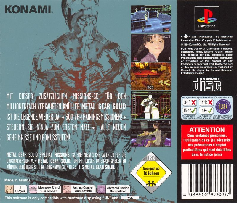Metal Gear Solid: VR Missions PlayStation Back Cover