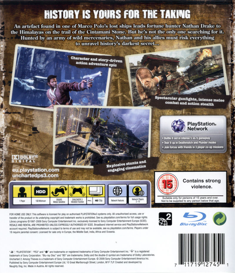 Uncharted 2 Among Thieves 2009 Playstation 3 Box Cover Art