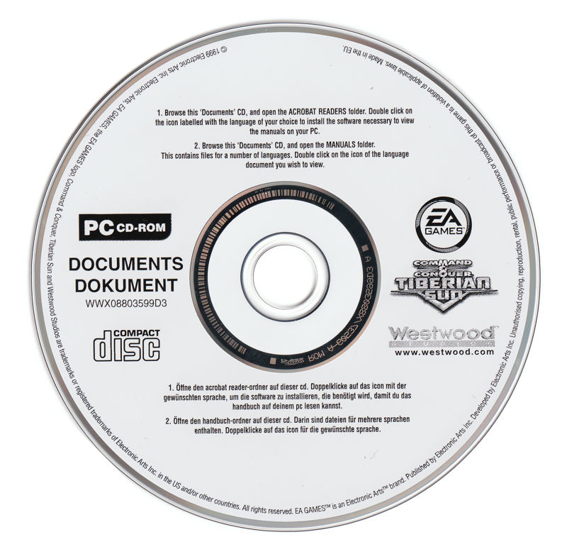 Command & Conquer: Tiberian Sun Windows Media Electronic Manual Disc
