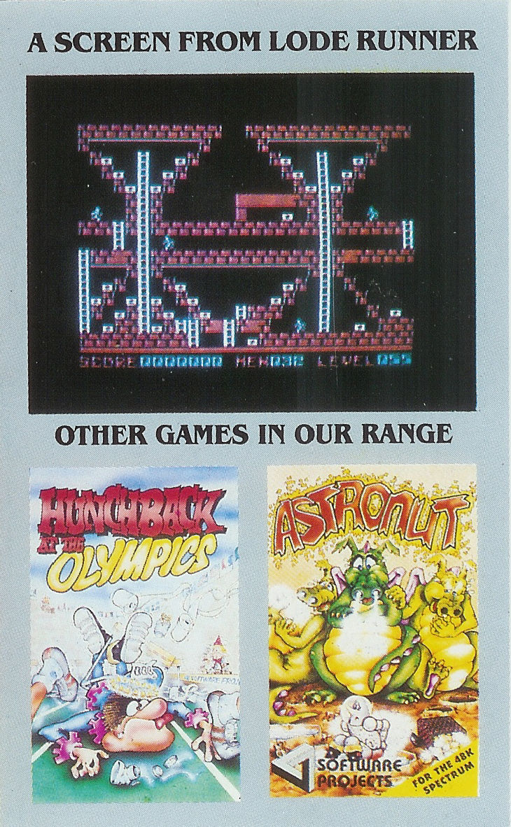 Lode Runner ZX Spectrum Inside Cover