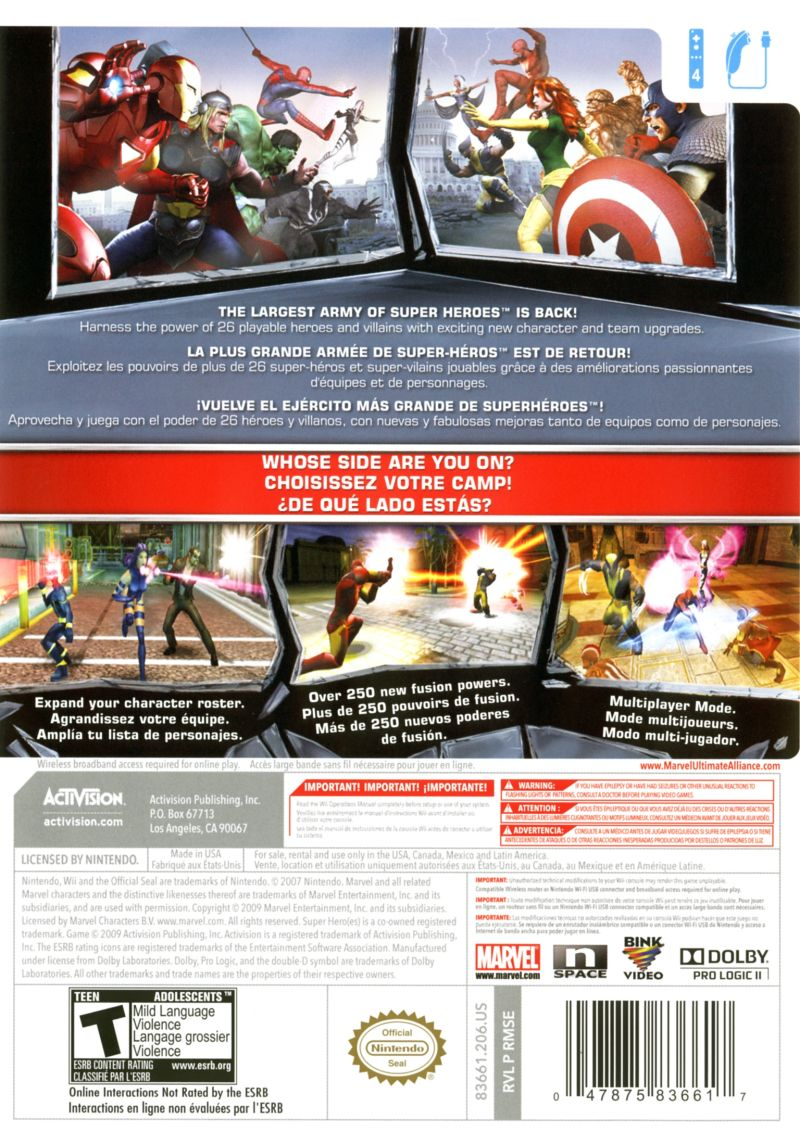Marvel Ultimate Alliance 2 Wii Back Cover