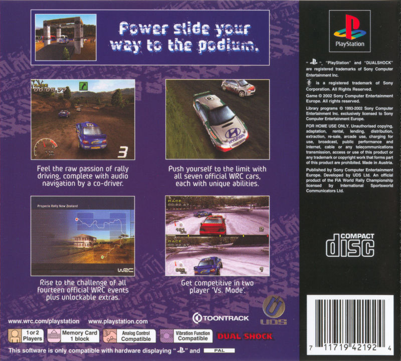WRC: FIA World Rally Championship Arcade PlayStation Back Cover