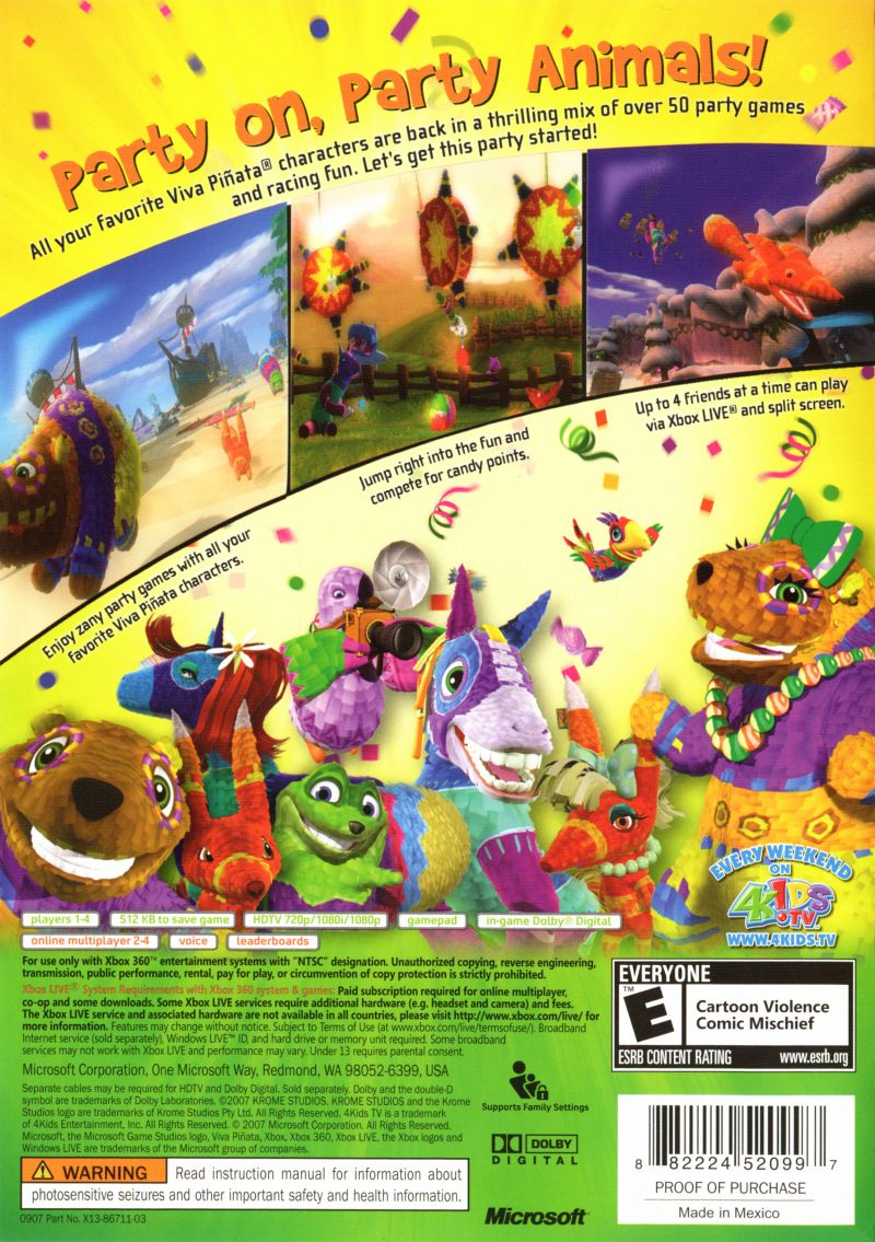 Image of: Kinect Games Viva Pixf1ata Party Animals Xbox 360 Back Cover Mobygames Viva Piñata Party Animals 2007 Xbox 360 Box Cover Art Mobygames