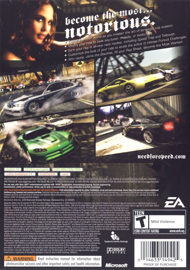 Need for Speed: Most Wanted (2005) Xbox 360 box cover art - MobyGames