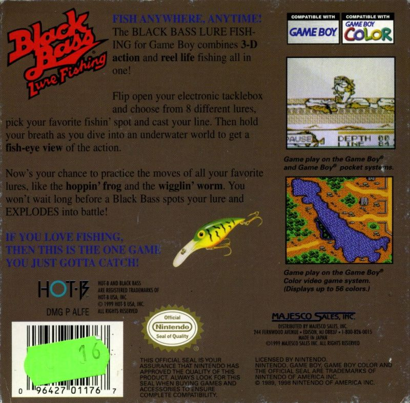 Black Bass: Lure Fishing Game Boy Color Back Cover