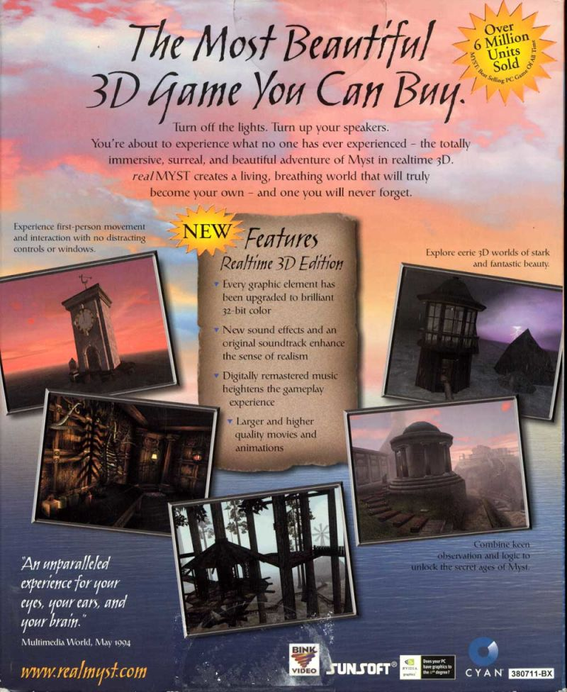 Real Myst Windows Back Cover