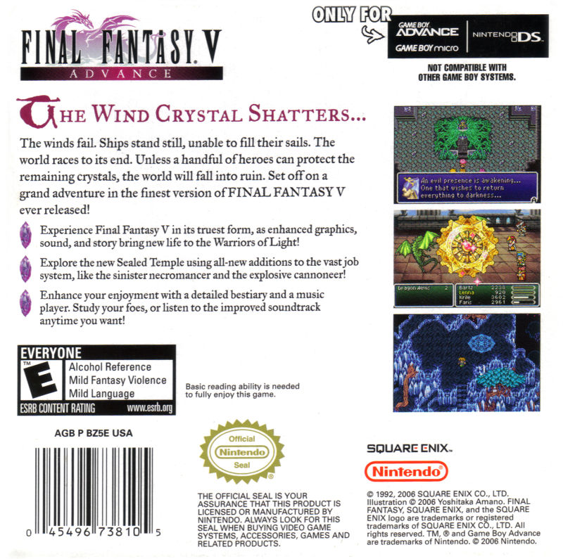 Final Fantasy V Advance Game Boy Advance Back Cover