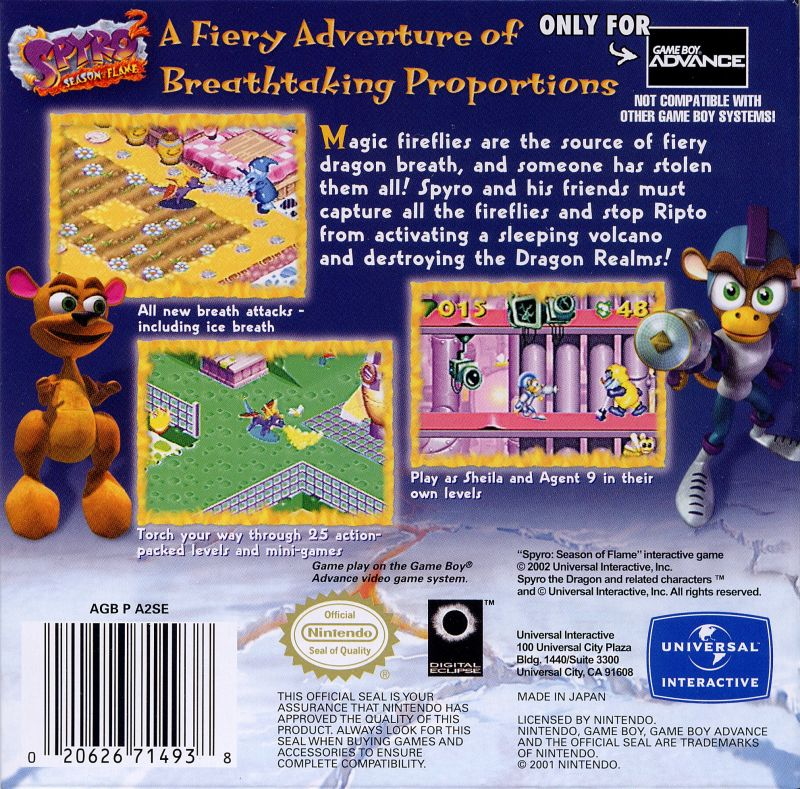 Spyro 2: Season of Flame Game Boy Advance Back Cover
