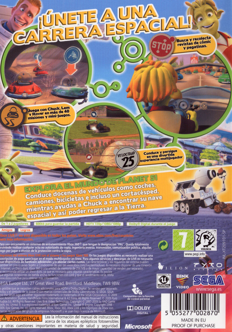 Planet 51: The Game Xbox 360 Back Cover