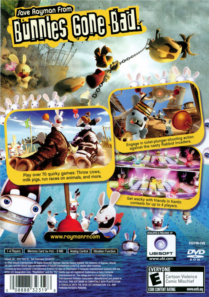 Rayman Raving Rabbids PlayStation 2 Back Cover