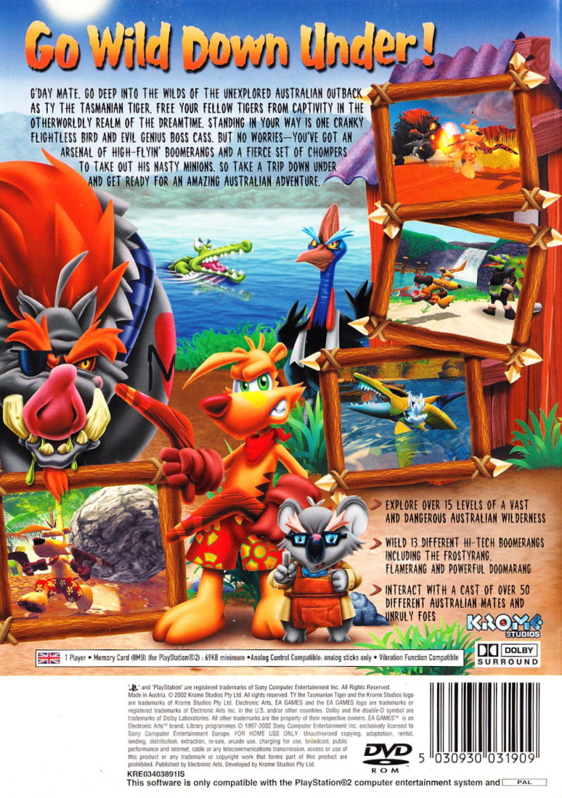 Ty the Tasmanian Tiger PlayStation 2 Back Cover